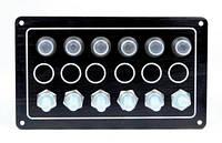 Панель на 6 переключателей 10062-BK, 172х102мм