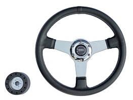 Рулевое колесо чёрное 35 см Pretech 5125, спицы хром