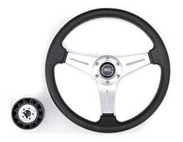 Рулевое колесо чёрное 35 см Pretech HD-5125D, спицы хром