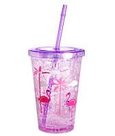 """Стакан пластиковый с трубочкой """"Фламинго"""""""