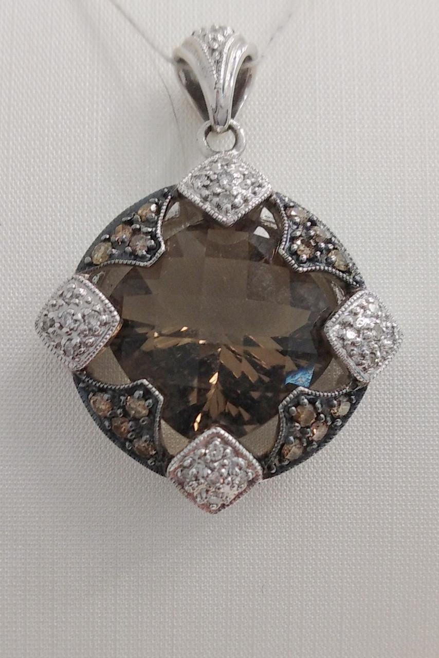 Подвеска золотая с бриллиантами и дымчатым кварцом 10307.13