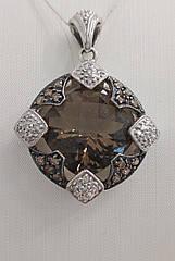 Підвіска золота з діамантами і димчастим кварцом 10307.13