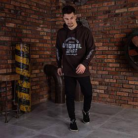 """Спортивная кофта для мужчин с капюшоном коричневая """"DIAS"""""""