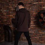 """Спортивна кофта для чоловіків з капюшоном коричнева """"DIAS"""", фото 3"""