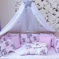 """Комплект в кроватку """"Мишки Girl с малиновыми бантиками"""""""