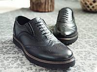 Мужские кожаные туфли броги на высокой подошве на резинке (без шнурков)