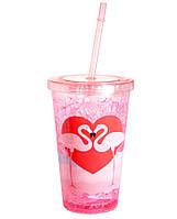 """Стакан пластиковый с трубочкой """"Фламинго"""", фото 1"""