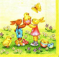 Декупажная салфетка Пасхальные зайцы с цыплятами 4323