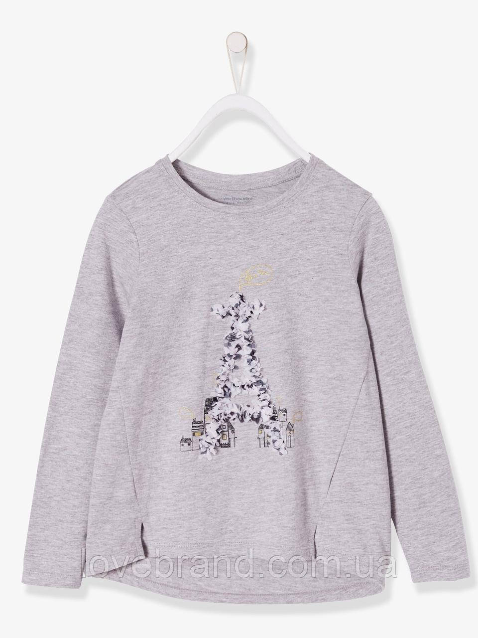 """Качественный реглан для девочки Verbaudet (Франция) серый """"Эйфелевая башня"""" легкая кофточка на весну/осень"""