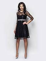 💡Двухслойное гипюровое платье с вшитым поясом из пайеток (черное 7e933b8edad52