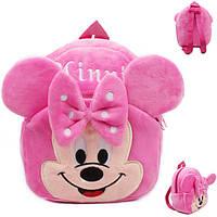 Детский розовый рюкзак Минни Маус, для девочек в детский садик, из плюша.