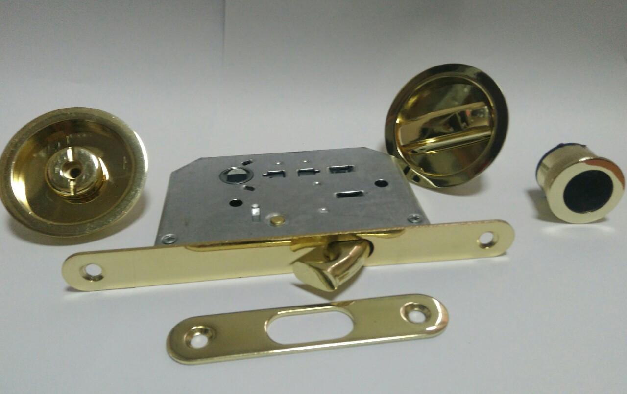 4120 ВР Комплект для раздвижных дверей пол.латунь
