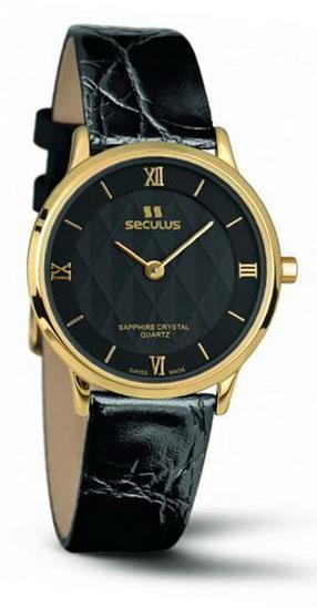 Мужские часы Seculus 1610.1.106 black, pvd, black leather