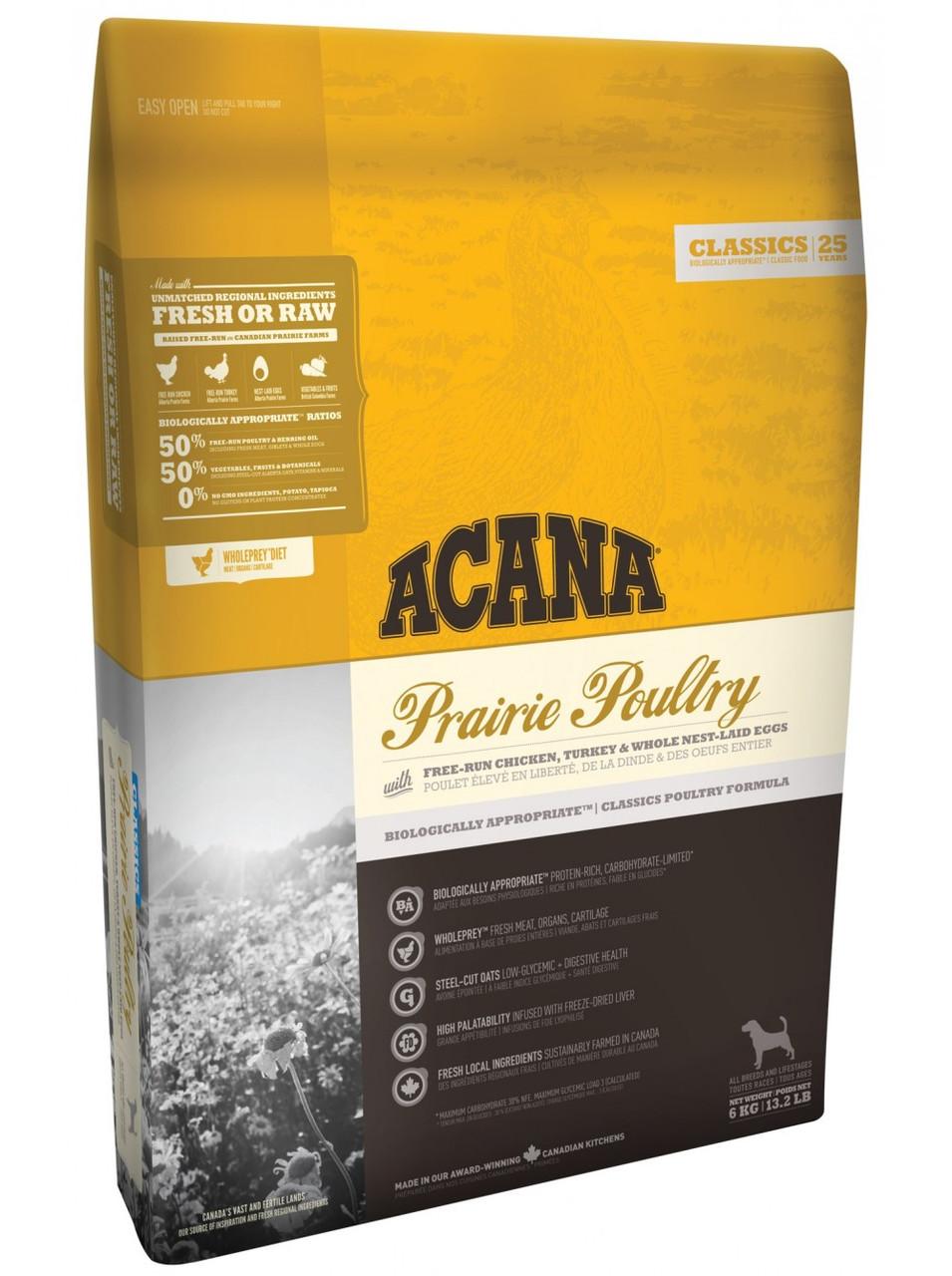 ACANA PRAIRIE POULTRY, сухой корм для собак всех пород и возрастов, 6 кг