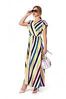 Длинное платье в полоску с лифом на запах