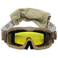 """Защитные очки тактические с 2 сменными стёклами MFH """"Thunder deluxe""""  коричневого цвета"""