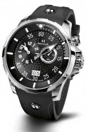 Мужские часы Seculus 4505.3.422 black-grey, ss, black silicon