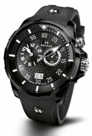 Мужские часы Seculus 4505.3.422 black-grey, ipb, black silicon