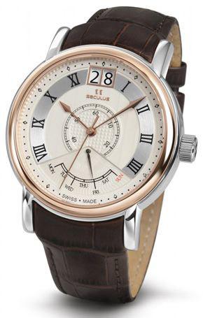 Мужские часы Seculus 4506.3.7003 white, ss-r, brown leather