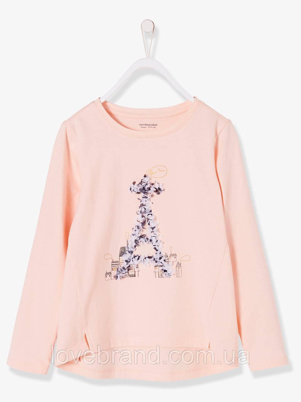 """Футболка на длинный рукав для девочки Verbaudet (Франция) """"Эйфелевая башня"""" легкая кофточка на весну/осень"""