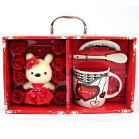 Подарочный набор керамический  чашка, ложка, блюдце и Cute Teddy Bear