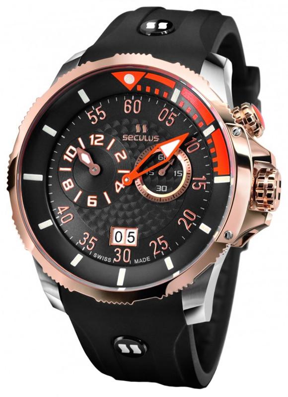 Мужские часы Seculus 4505.3.422 black-orange, ss-r, black silicon