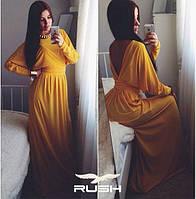 Платье в пол с глубоким вырезом на спине