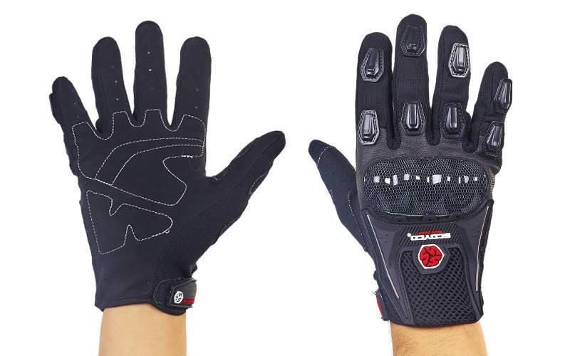 Мотоперчатки текстильные с закрытыми пальцами и протектором SCOYCO (СКИДКА НА р. L) MС09-BK OF