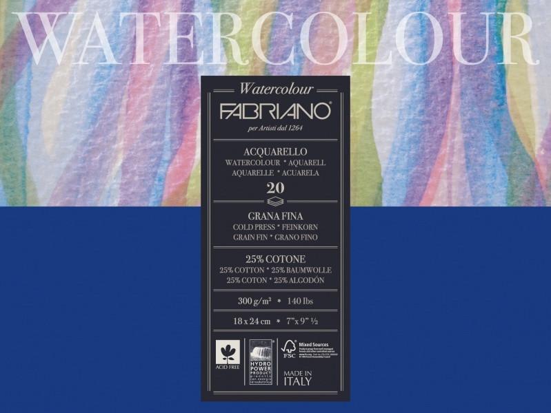 Альбом для акварели Fabriano A4 20л 200г/м2 Watercolor среднее зерно склейка 8001348173519
