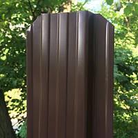 Штакет металлический, 115 мм, RAL 8017 (шоколад), 2-х сторонний.