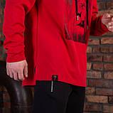 Красная спортивная мужская кофта с принтом, фото 2