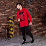 Красная спортивная мужская кофта с принтом, фото 3