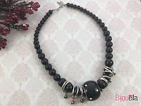 Черное ожерелье 18888 бусы на шею украшение на праздник или на подарок