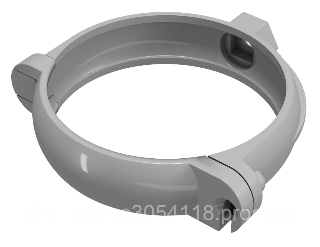 Хомут крепления трубы 130 мм, труба  ПВХ 100 мм Regenau серый