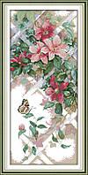 Цветы и бабочка H677/15 Набор для вышивки крестом с печатью на ткани 14ст