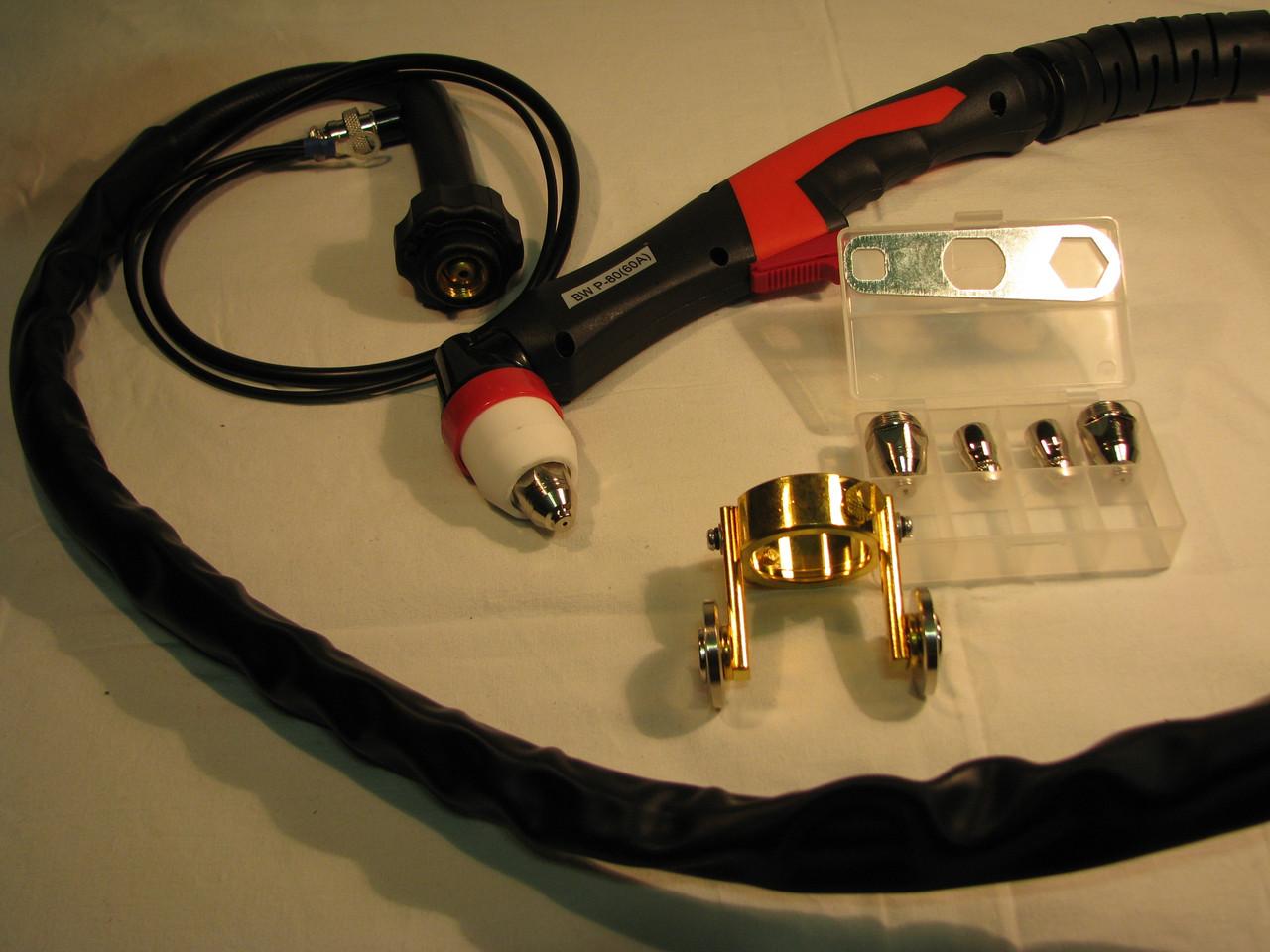 Рукав P80 60A (Плазмотрон для плазмореза )5 метров ,Опорные колёса и сопла в комплекте