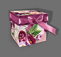 Подарочная бумажная коробка ''Кубик пион'' (без ленты), 500 грамм