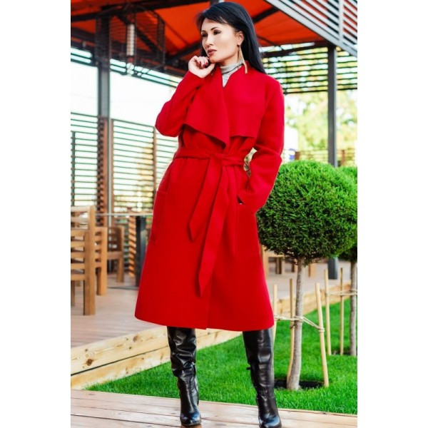 """Модное пальто """"Барселона"""" красное"""