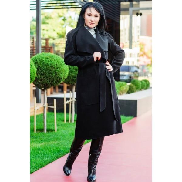 """Черное длинное пальто """"Барселона"""""""