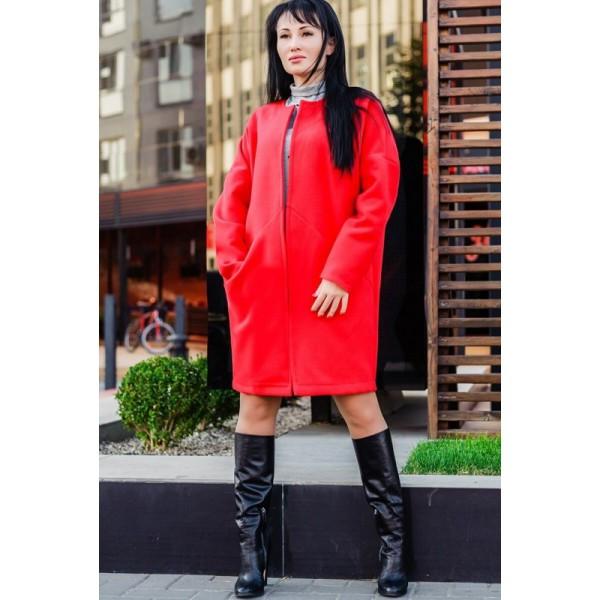 """Пальто-трапеция """"Маргарита"""", красный"""
