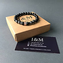 Браслет I&M Craft з каменю шунгита і гематиту з золотистим шармом (141046)