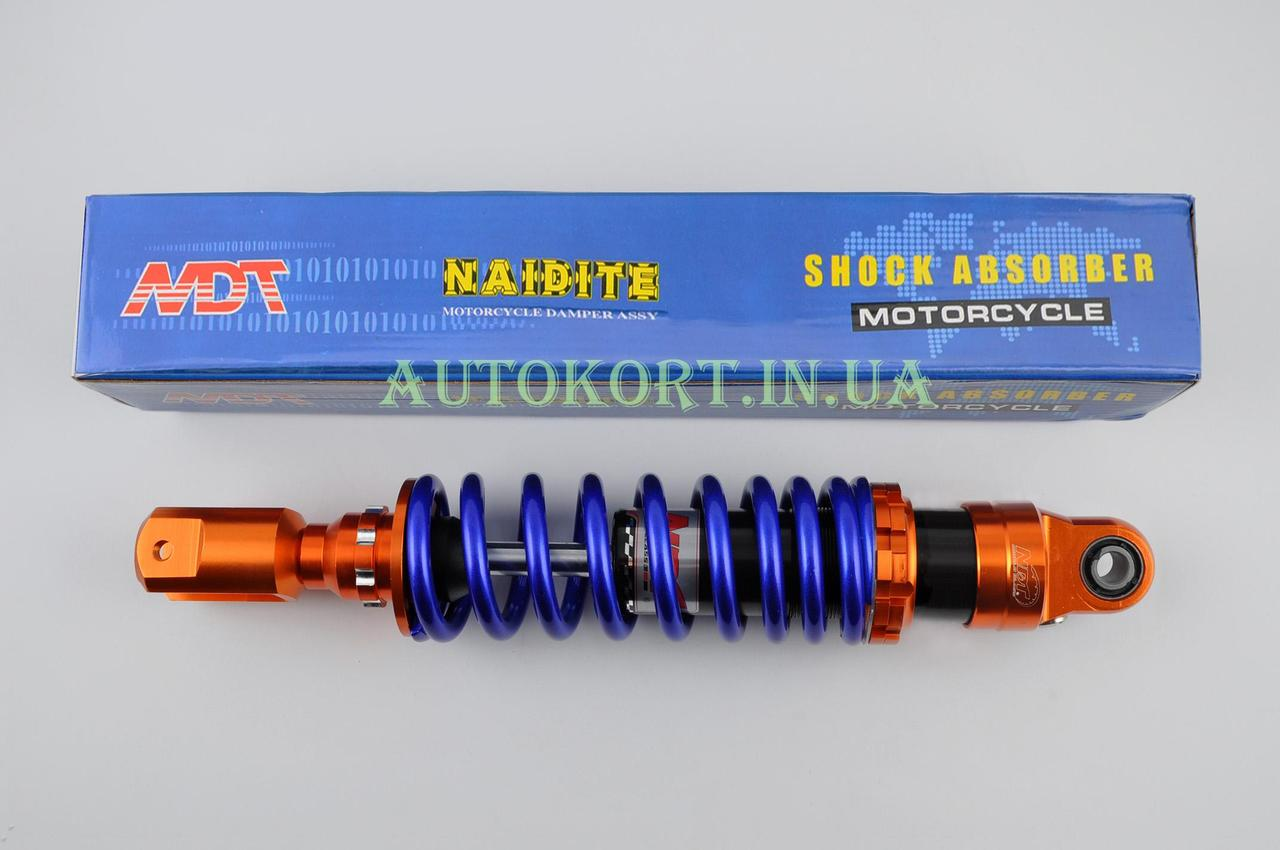 Амортизатор   GY6, DIO ZX, LEAD   320mm, тюнинговый   (оранжево-синий)   NDT