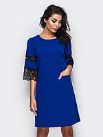 a742815fbca ⭐️Трикотажное платье с кружевной отделкой рукавов (синее