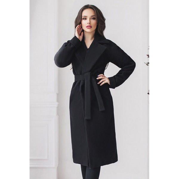 Черное классическое женское пальто Даниель