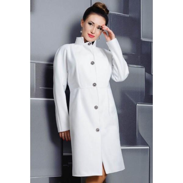 Белое батальное пальто Тереза