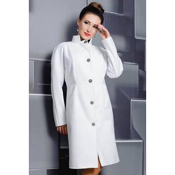 Белое пальто Тереза прямого фасона