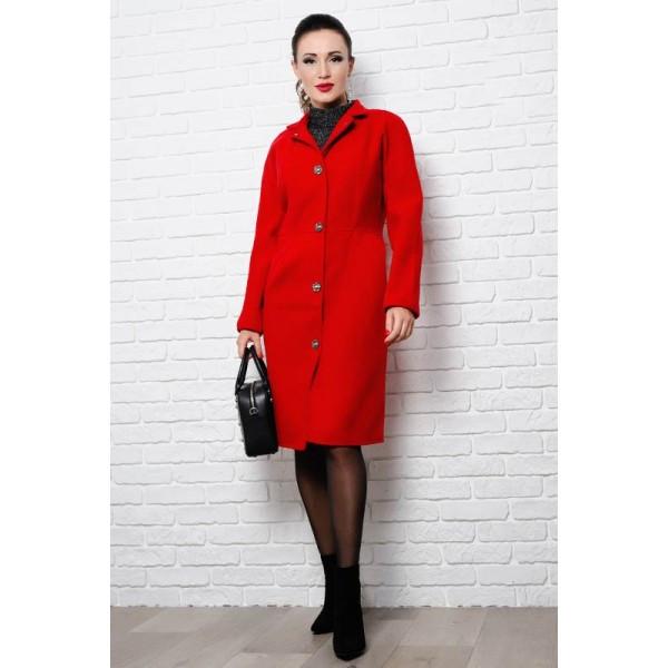 Пальто красного цвета Тереза, батал