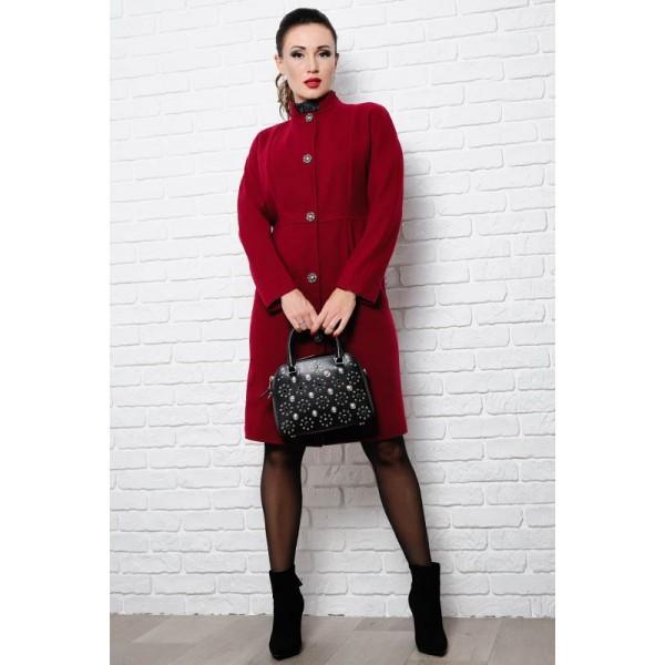 Стильное пальто на пуговицах Тереза, бордовый