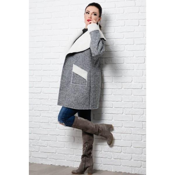 Женское  пальто на овчине Бенжамина серый