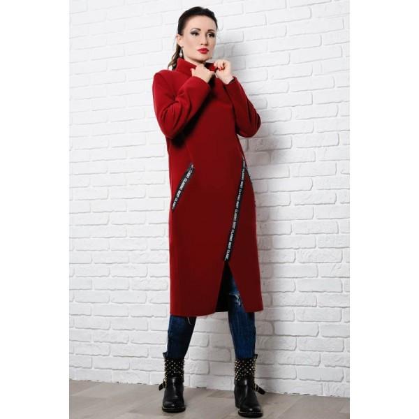 Батальное пальто Элисон бордового цвета